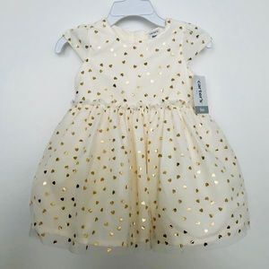 NWT Baby girl cream dress with gold hearts